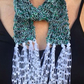 Short summer scarf, narrow , with white fringes, evening scarf