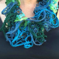 Knitted necklace scarf, infinity scarf, blues , greens, lace
