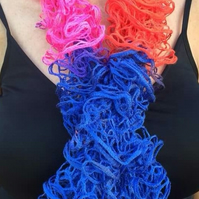 Sale knitted  multi coloured scarf, frilly, ruffled wool,summer, blue