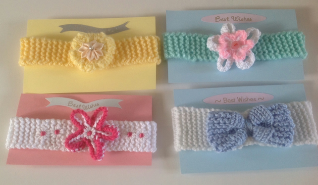 Baby headband, hand knitted gift wrapped, baby shower,photo prop, newborn