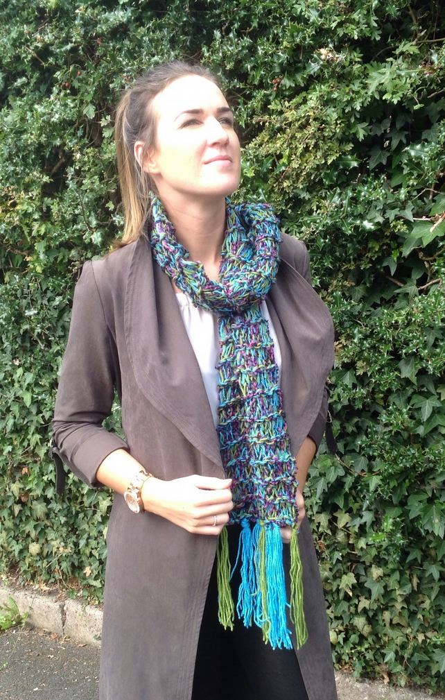 Ladies knitted scarf, turquoise, green,purple long, winter, fringes