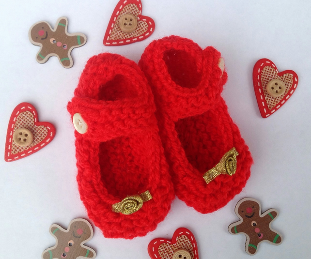 Knitted  Christmas red baby shoes, bootees with good rose, new born, shower