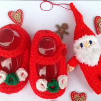 Christmas baby bootees, red, green, with hanging Santa