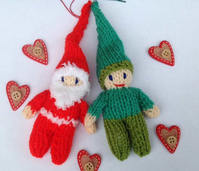 Hanging Christmas decorations,Santa , elf, tree decs,knitted