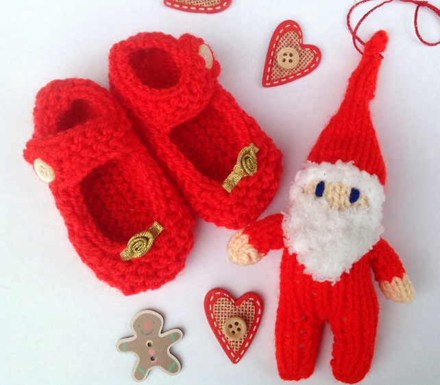 Knitted  Christmas red baby shoes, bootees with Santa ,new born, shower