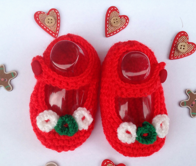 Knitted Christmas baby shoes, bootees,crib scarlet, with flowers, 3-6 months,