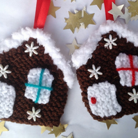 Knitted Christmas tree decorations, gingerbread houses, hanging decoration