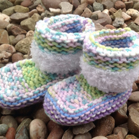 Knitted baby bootees,Christmas gift   Unisex new born, baby shower, christening