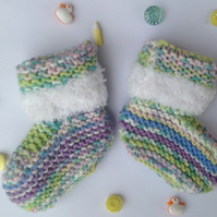 Knitted baby bootees,   Unisex new born, baby shower, christening