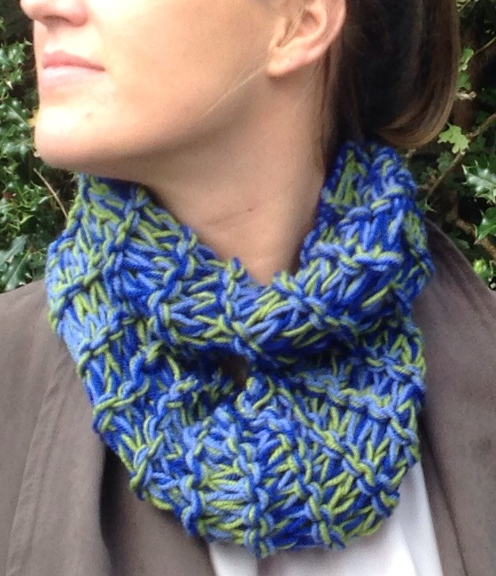 knitted  ladies scarf, cowl , snood, blue green , infinity,