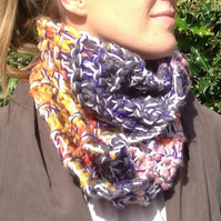knitted  ladies scarf, cowl , snood,infinity, neck warmer,multicoloured