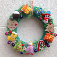 Christmas wreath, knitted, door  hanging, wall,hanging, table,decoration