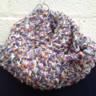 knitted snood, cowl,neck warmer,scarf , multicoloured chunky, grey, unisex