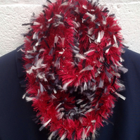 Hand knitted cowl,snood,infinity scarf in bright red,ribbon yarn