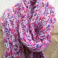 Ladies pink scarf , long textured, ribbed scarf,winter, Mother's Day