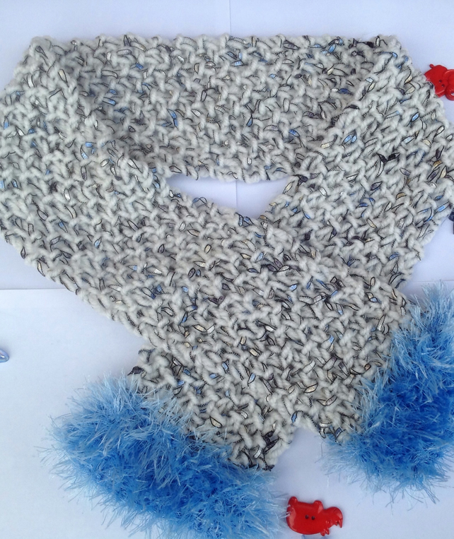 Knitted scarf, children, toddler, blue, fluffy,Christmas,winter