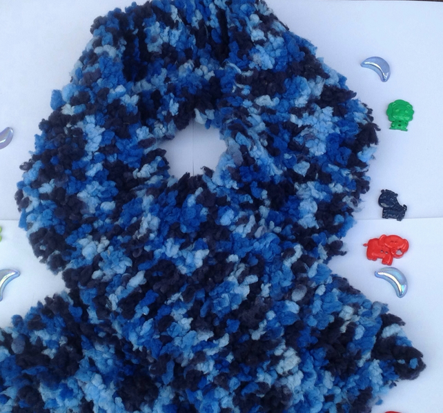 Knitted scarf, children, toddler, blue, fluffy,Christmas,winter , unisex scarf