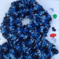 Knitted Toddler scarf, blue, fluffy,Christmas,winter , unisex scarf