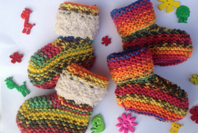 Baby bootees, knitted with fluffy cuff, multicoloured ,baby slipper,winter,boot