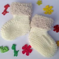 Baby bootees, unisex, neutral, knitted, fluffy edging, cream Christmas, new born