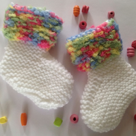Baby bootees, unisex, neutral, knitted, fluffy edging, new born