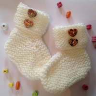 Baby bootees, unisex, neutral, knitted,  heart buttons,new born, baby shower