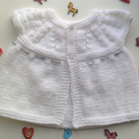 Baby cardigan, knitted , white 3 months, new born,
