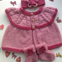 Pink baby girl cardigan set, bootees, headband,new born baby gift