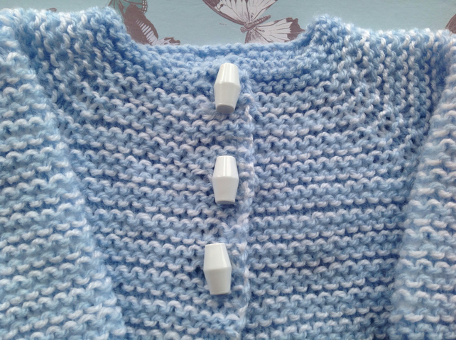 Knitted baby cardigan, blue and white new born, baby shower