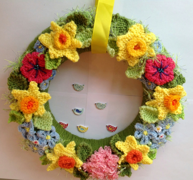 Easter wreath.  Spring wreath, knitted flowers