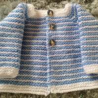 Knitted baby cardigan, blue and white new born, baby shower, new born