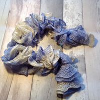 Mother's Day  gift knitted pale blue frilly scarf, layered, ruffled,