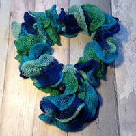 Knitted  frilly necklace scarf, green, turquoise,loop, circle scarf
