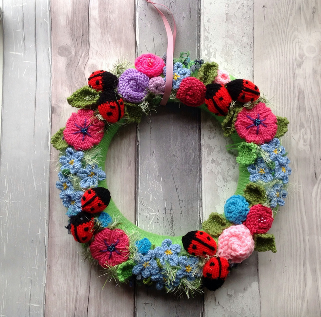 Summer wreath, knitted flowers,ladybirds,housewarming gift, door wreath, wall