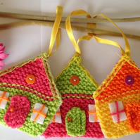 Knitted easter hanging decorations, little houses, Christmas decorations