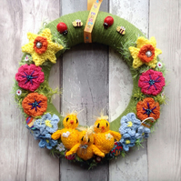 Easter wreath,knitted flower wreath