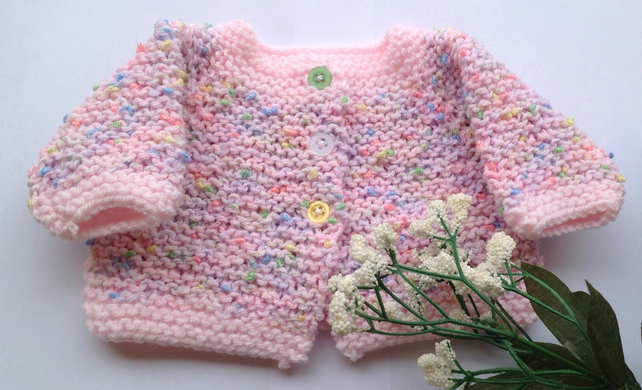 Premature baby cardigan, knitted in pinks with coloured buttons
