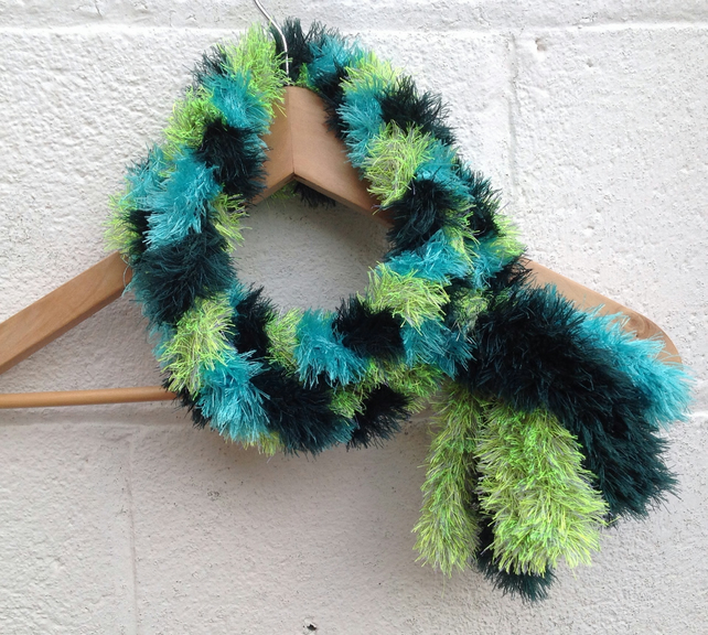 Green fluffy scarf, infinity scarf,  loop scarf, ladies, circle