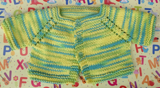 Easter baby, knitted cardigan, yellow 3-6 months