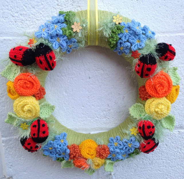 summer wreath, ladybirds, knitted flowers  door hanging, new home gift, wedding