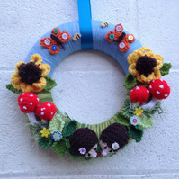 Autumn wreath, woodland theme, hand knitted, wall, door hanging, new home