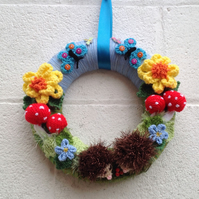 Woodland  wreath, hedgehog, nursery, spring, new home Easter