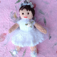 Knitted fairy, hanging decoration, christening gift,Christmas,white,
