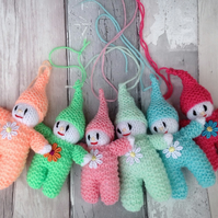 knitted elf, gnome,pixie,Hanging decoration, tree decorations