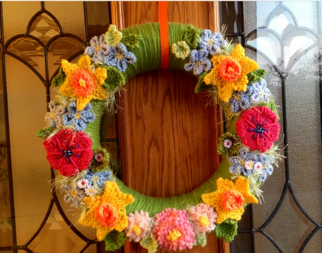 Easter wreath  Spring wreath, knitted flowers, Mother's Day gift,