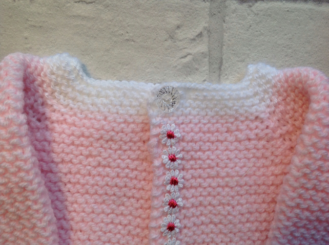 Pink baby  cardigan, knitted, with white edging 0-3 months