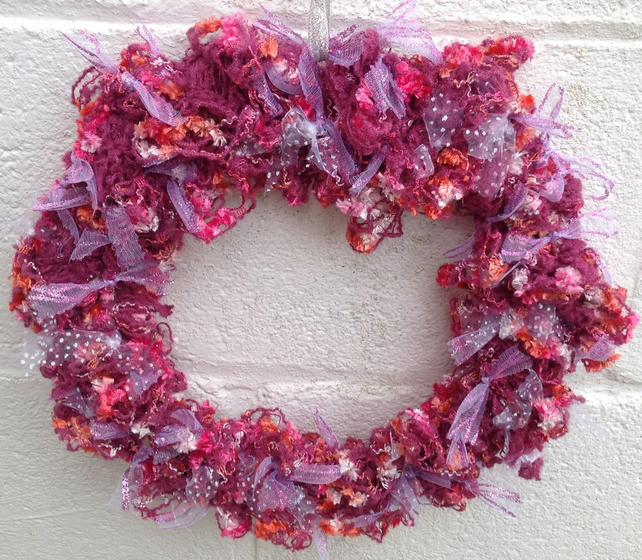 Pink wreath, knitted wreath, rag, door hanging  wreath, Christmas, wedding