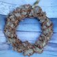 Gold  wreath, knitted wreath, rag, door hanging  wreath, Christmas, wedding