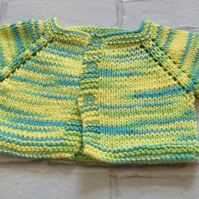 knitted baby  cardigan, yellow 3-6 months,new  born gift,baby shower, summer
