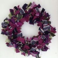 Fabric wreath, woollen tweed wreath, door hanging, wall decoration, shabby chic